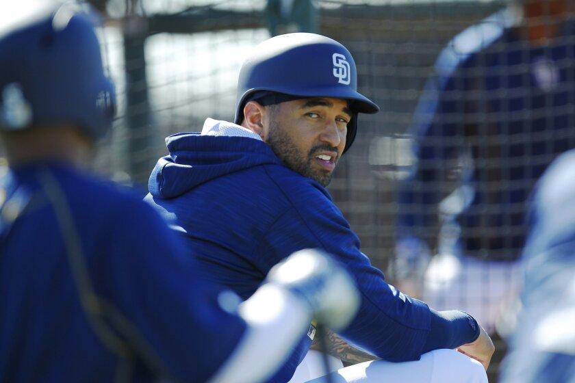 San Diego Padres Matt Kemp waits to bat during a spring training practice.