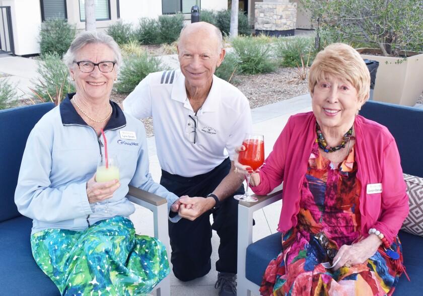 Silvergate Rancho Bernardo residents Lynn and Jim Smith and Carolyn Stalcup on July 29.