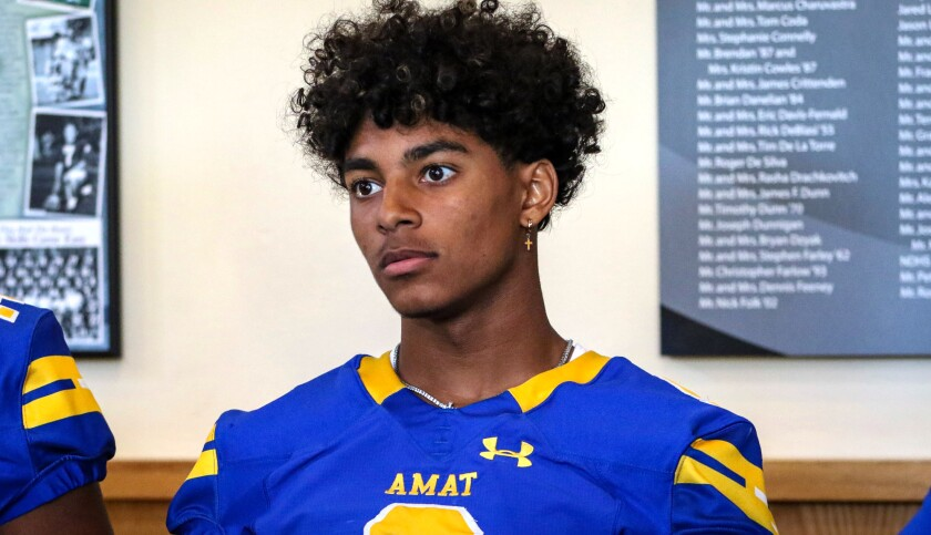 Bishop Amat cornerback Dyson McCutcheon listens to a question during the Mission League's media day on Aug. 5.