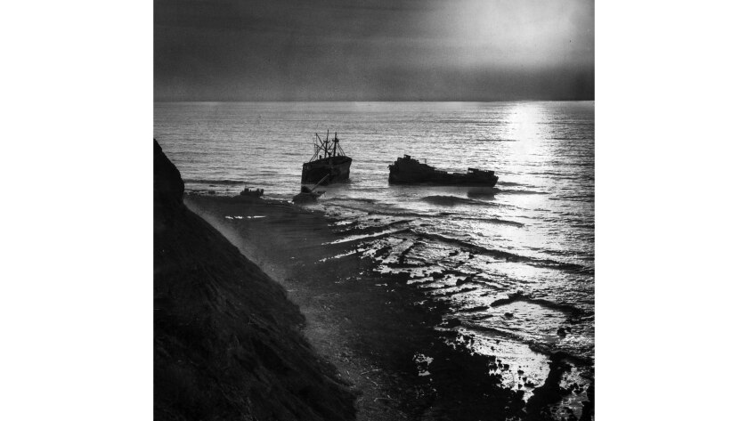 Nov. 12, 1961: The Dominator lays broken in two off Palos Verdes. The ship ran aground in March, 196