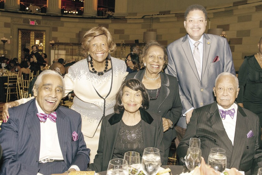 """The """"All Hands on Deck"""" effort enlists (seated, l. to r.) former Congressman Charles Rangel, Joyce Dinkins and former Mayor David Dinkins and (standing,) Hazel Dukes, NAACP New York State Conference; educator Marcella Maxwell ; Geoffrey Eaton., Mid Manhattan NAACP and others.;"""