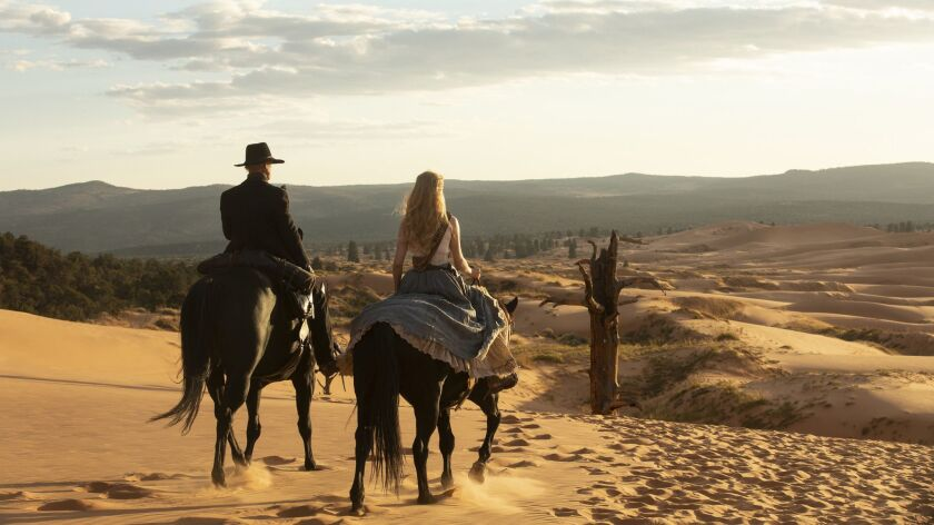 "Ed Harris and Evan Rachel Wood in a scene from season two finale of HBO's ""Westworld."""