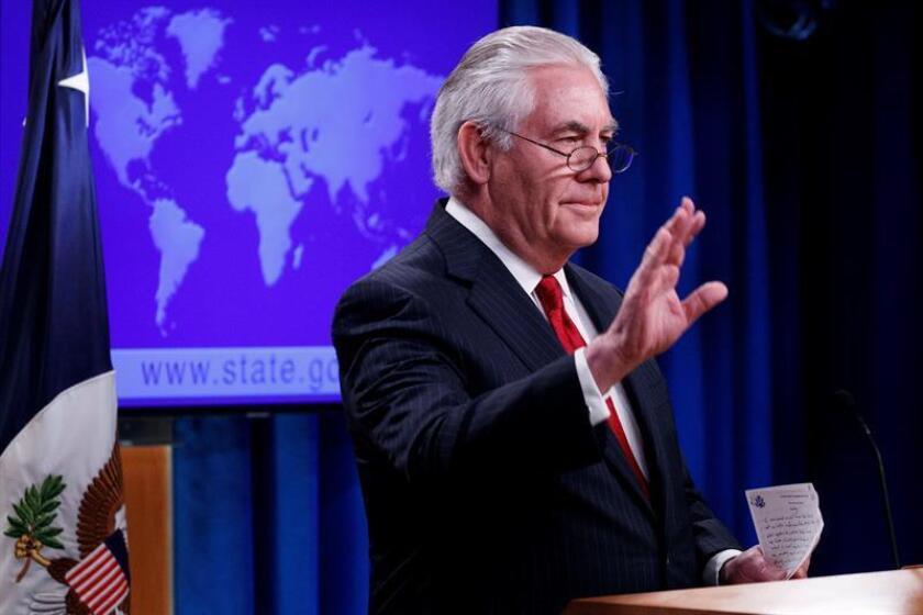 El secretario de Estado estadounidense, Rex Tillerson, ofrece una rueda de prensa sobre su cese en el cargo, en Departamento de Estado en Washington DC (Estados Unidos) hoy, 13 de marzo de 2018. EFE