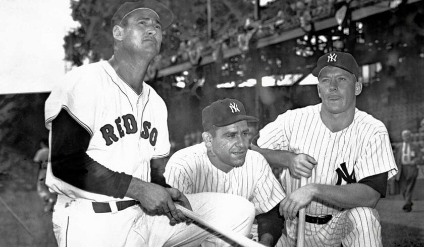 The AL had plenty of firepower with Red Sox outfielder Ted Williams and the Yankees' Yogi Berra (center) and Mickey Mantle, but it wasn't enough against the NL in the 1956 All-Star Game.