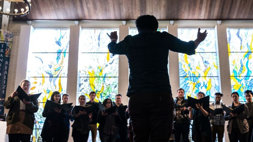 SAN DIEGO - FEB 21, 2019: Artistic Director Ruben Valenzuela leads the Bach Collegium San Diego thro
