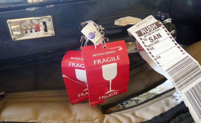 """Some of the several """"Fragile"""" stickers Kartik Seshadri said were affixed to the sitar case when it was damaged."""