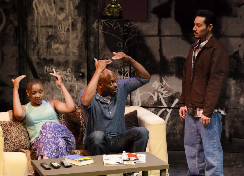 """Whitney Brianna Thomas, Laurence Brown and Steven Lone (left to right) in Cygnet Theatre's local premiere of Stephen Adly Guirgis' """"Hat."""""""