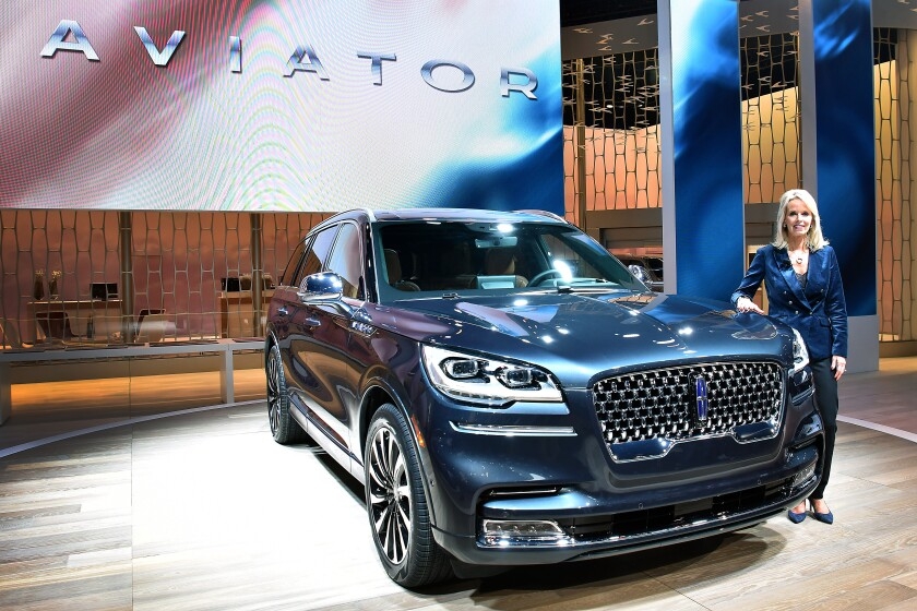 "Joy Falotico, Lincoln Motor Co. president, introduced the new Aviator SUV at the 2018 Los Angeles Auto Show. ""I think of us more as a luxury boutique than a luxury shopping mall,"" she said."