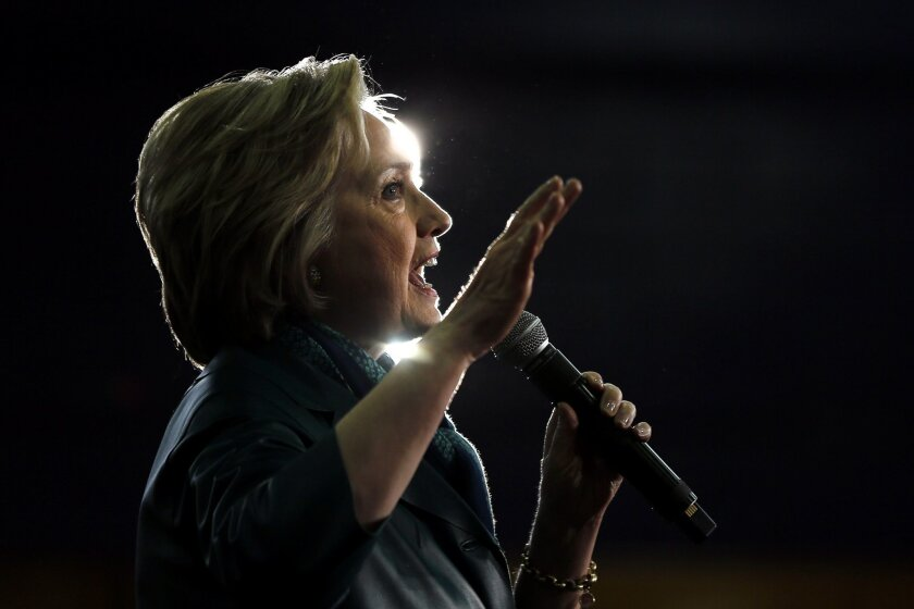 ADVANCE FOR USE WEDNESDAY, JULY 13, 2016 AND THEREAFTER-FILE - In this Sunday, April 24, 2016 file photo, Democratic presidential candidate Hillary Clinton speaks during a campaign stop at the University of Bridgeport in Bridgeport, Conn. (AP Photo/Matt Rourke)