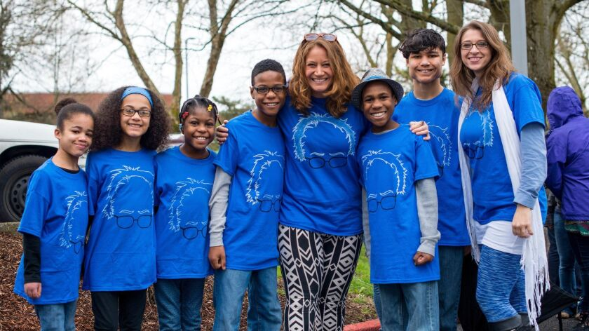 FILE - This March 20, 2016, file photo shows Hart family of Woodland, Wash., at a Bernie Sanders ral