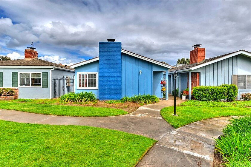 A vibrant blue home in Tustin