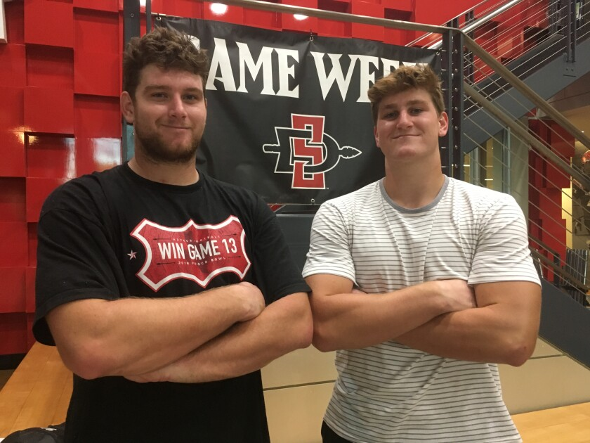 Offensive lineman Zach Thomas (left) and defensive lineman Cam Thomas have both earned starting jobs on the SDSU football team.