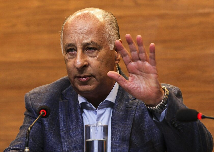 Marco Polo del Nero, president of the Brazilian Football Confederation, at a news conference in Rio de Janeiro on May 29. He has resisted suggestions that he resign.