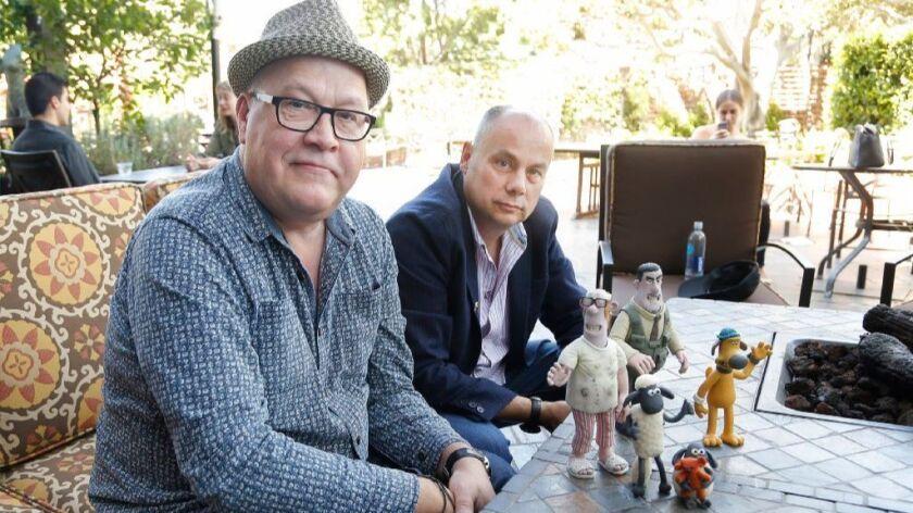 "Filmmakers Richard Starzak and Mark Burton, directors of ""Shaun the Sheep Movie,"""