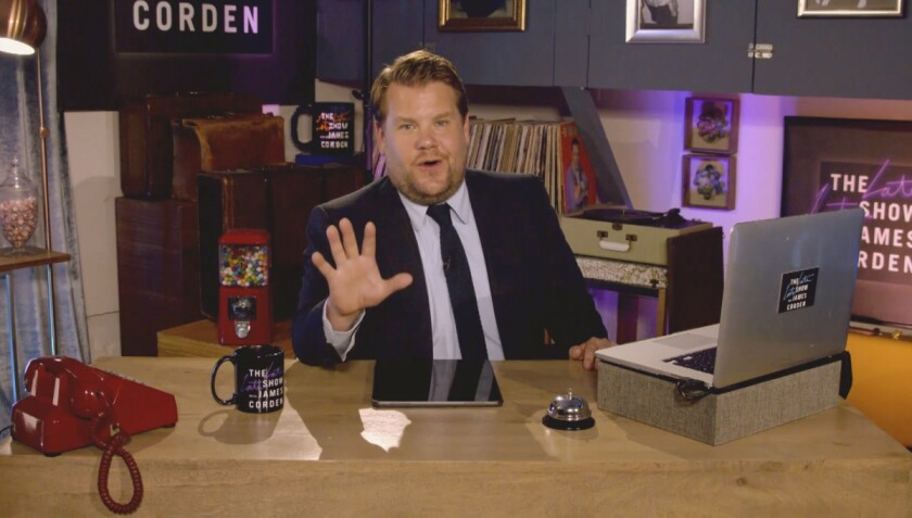 "James Corden has been hosting ""The Late Late Show"" remotely since the start of the COVID-19 pandemic."