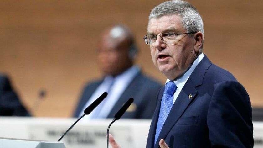 International Olympic Committee President Thomas Bach speaks during the FIFA congress in Zurich, Switzerland, in February.