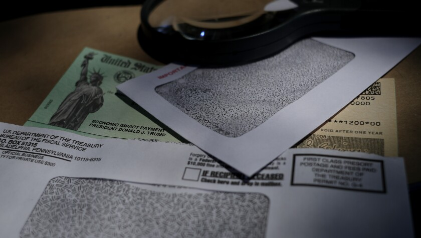 A stimulus check issued by the IRS