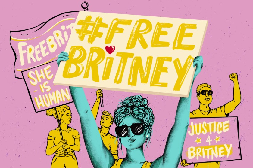 """Illustration of protesters holding up """"Free Britney"""" signs."""