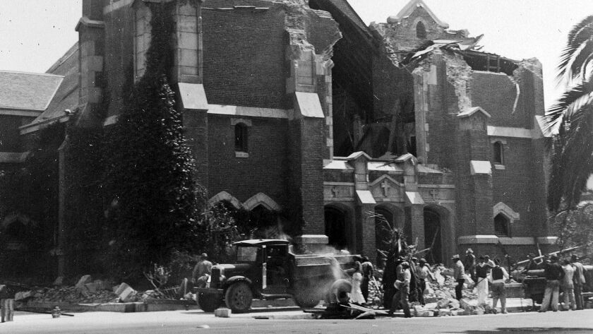 The ruins of St. Anthony's Church in Long Beach, Calif., after a massive earthquake struck in 1933.