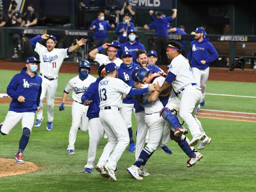 Dodgers players celebrate after winning the 2020 World Series.