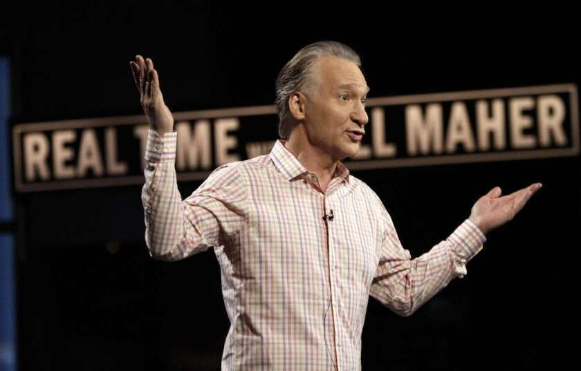 Funny guy, but not real: Bill Maher on the set of his HBO show in 2012.