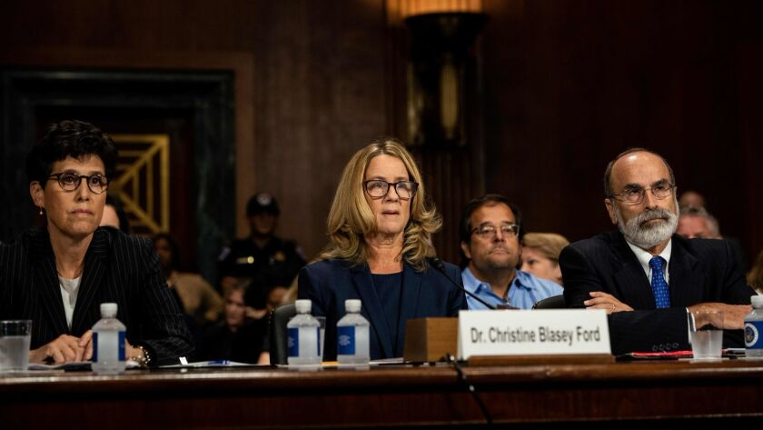 The Senate Judiciary Committee holds a hearing for Christine Blasey Ford to testify about sexual assault allegations against Supreme Court nominee Brett M. Kavanaugh at the Dirksen Senate Office Building on Capitol Hill on Thursday.