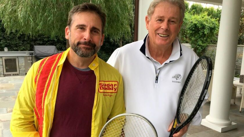 "Lornie Kuhle poses with actor Steve Carell, who portrays Bobby Riggs in the upcoming film, ""Battle o"