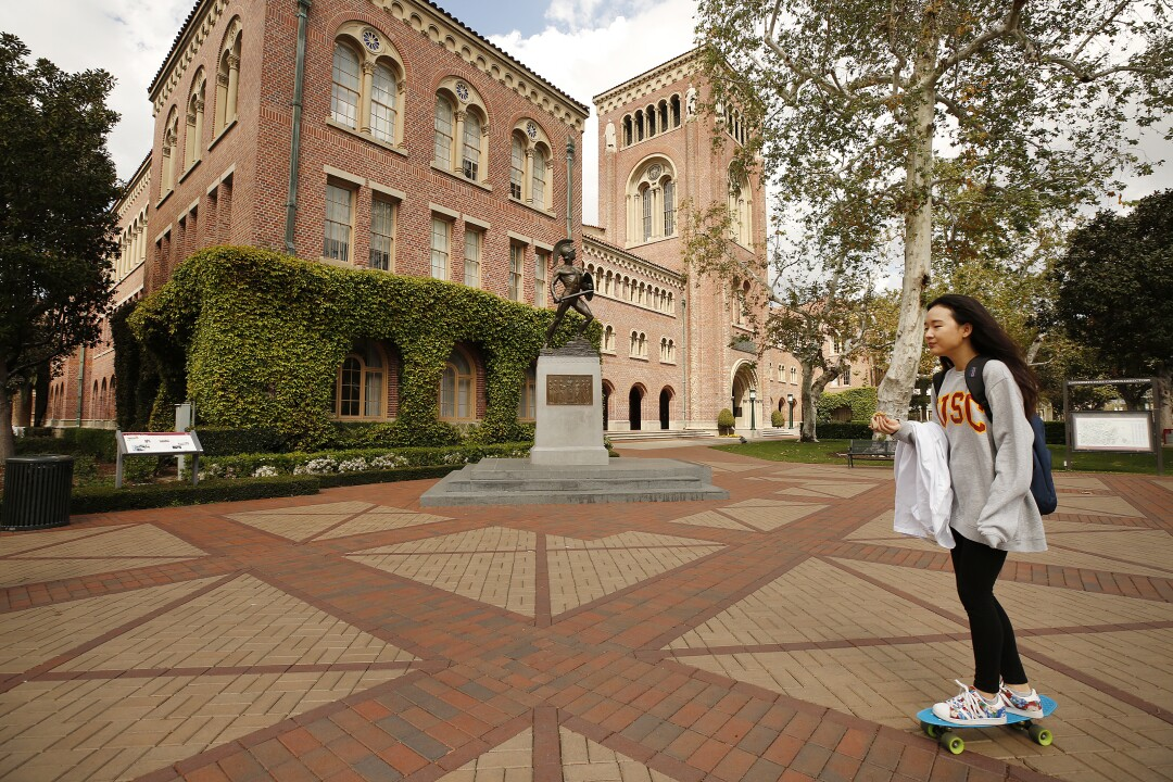 The USC campus near downtown Los Angeles was quiet Wednesday as classes are being held online for the first day