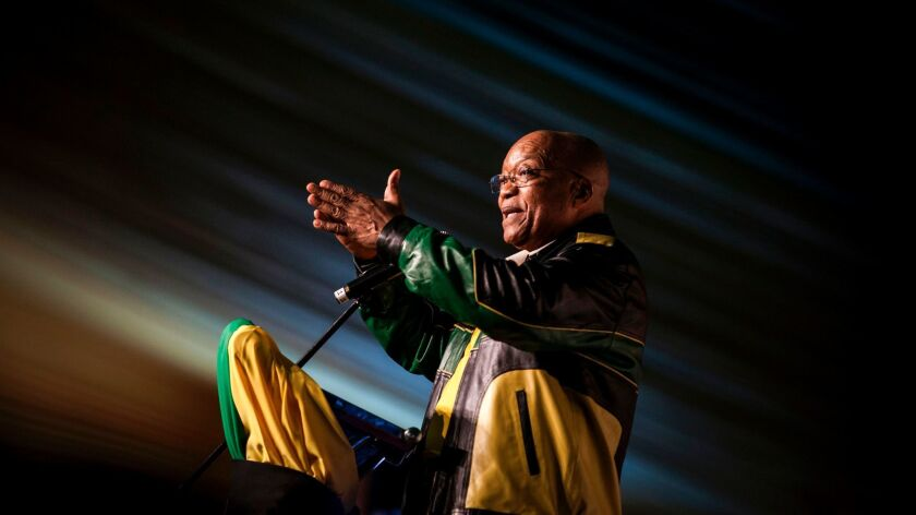 South Africa's President Jacob Zuma gestures during celebrations for his 75th birthday on April 12,