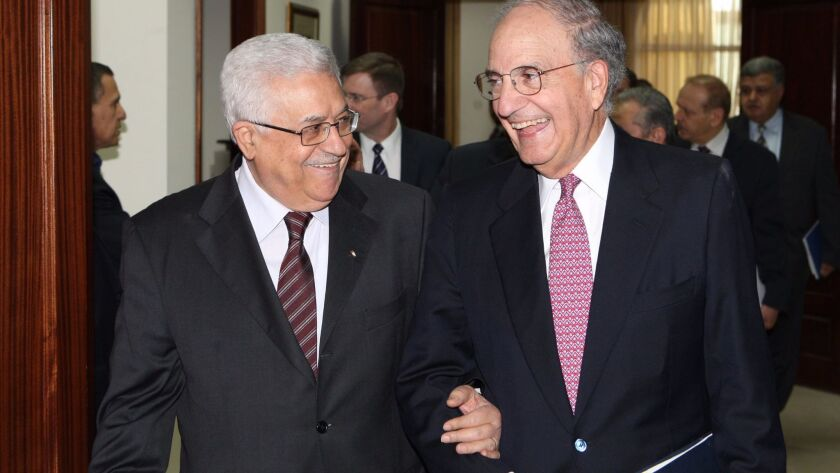 Mitchell meeting with Palestinian Authority President Mahmoud Abbas in 201