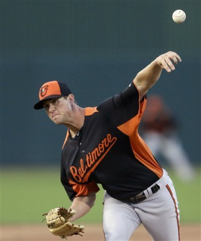 Baltimore Orioles starting pitcher Brian Matusz throws in the second inning of a spring training exhibition baseball game against the Minnesota Twins, Wednesday, March 13, 2013, in Fort Myers, Fla. (AP Photo/David Goldman)