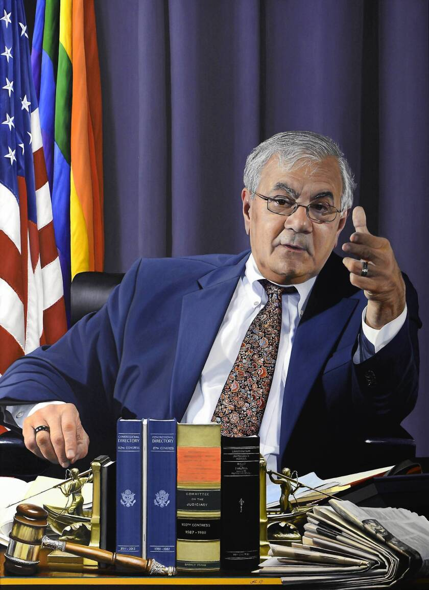 Artist Jon Friedman's portrait of former Rep. Barney Frank (D-Mass.) was paid for through private donations, a method Frank thinks government officials should use instead of tax dollars.