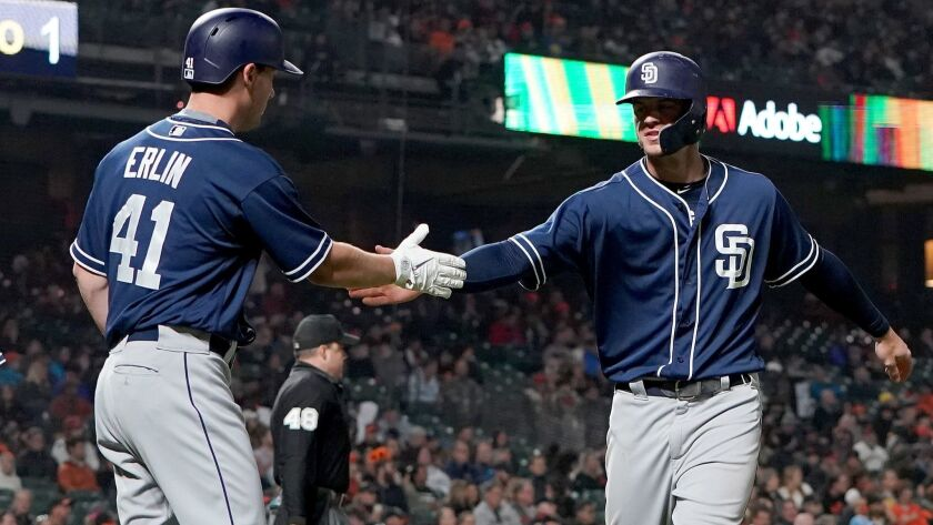 Robbie Erlin and Wil Myers celebrate after they scored the Padres' first two runs Tuesday against the Giants.