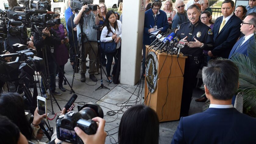Pomona Police Chief Paul Capraro announces the arrest of a suspect, Sengchan Houl, 35, in the shooting death of Jonah Hwang during a news conference outside the Pomona Police Department on Monday.