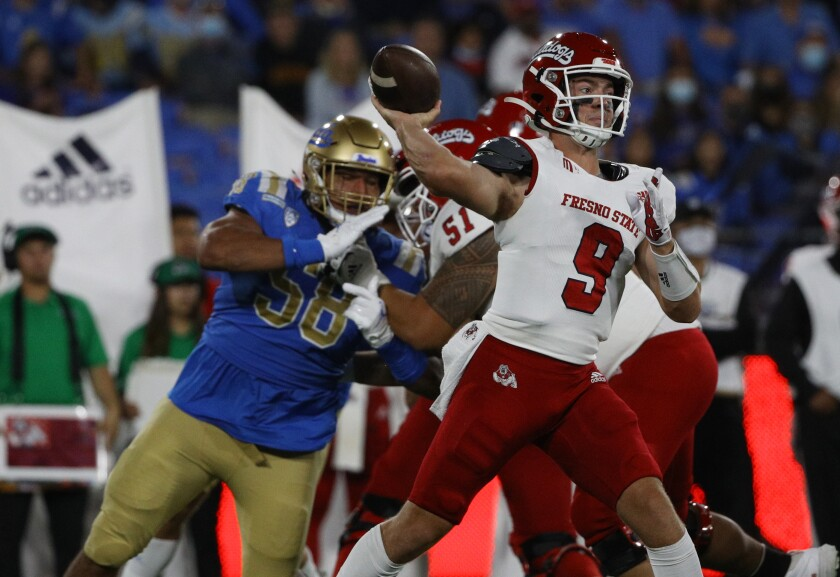 Fresno State quarterback Jake Haener passes during the Bulldogs' 40-37 win over UCLA.