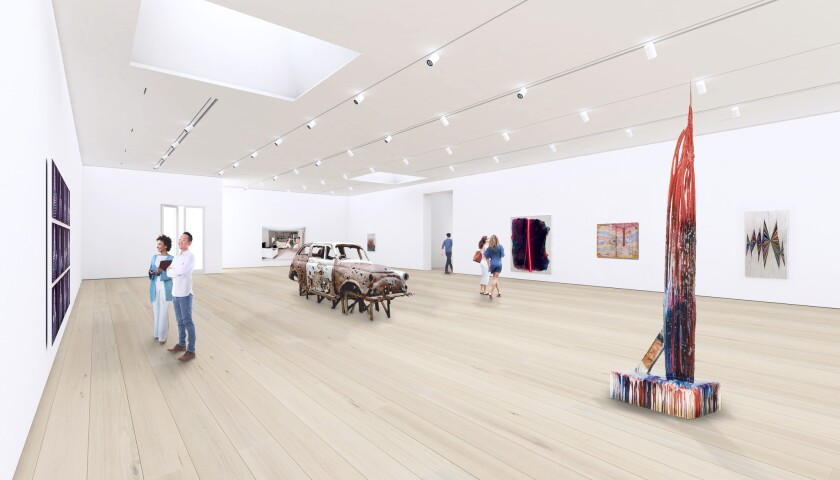Renovated and proposed galleries on upper floors share a restrained formal language, with oak floors.