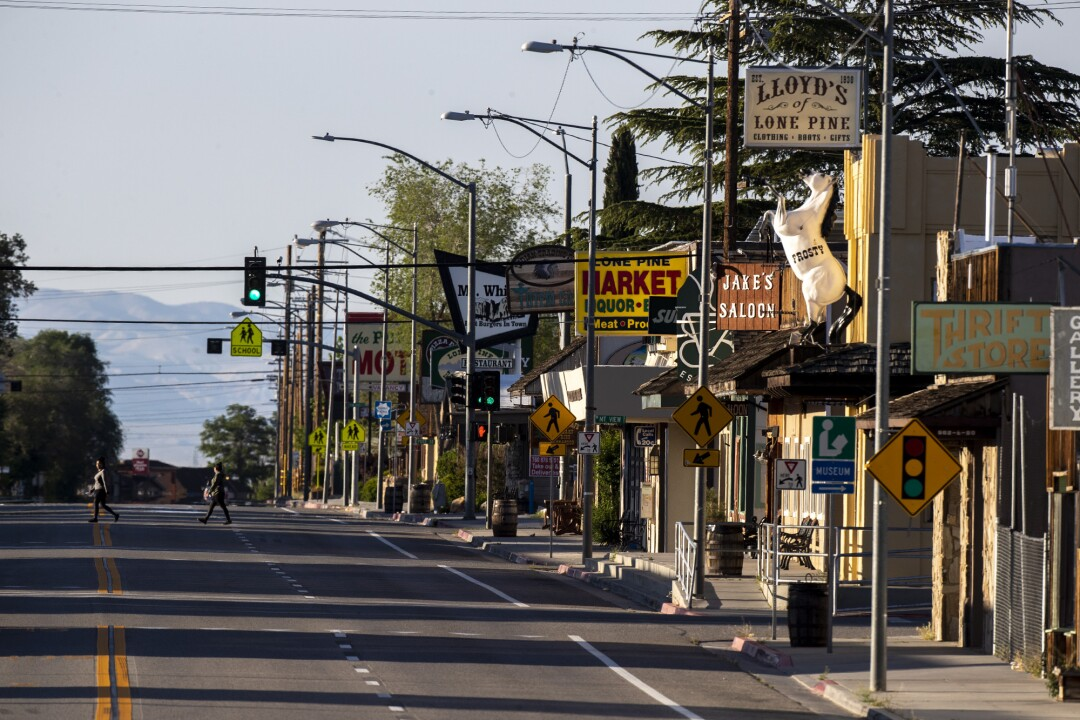 Business is slow on Main Street in Lone Pine, Calif.