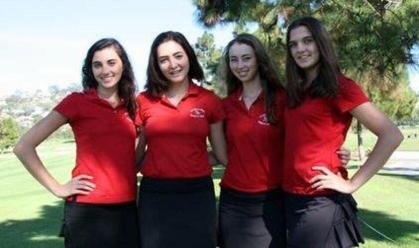 Rebecca Ryan (second from left) pictured with Talia Chalhoub, Madeleine Garay and Kaiulani Frejfar — all members of the 2015 La Jolla High School girls varsity golf team