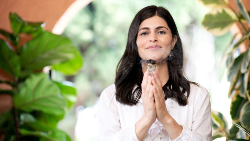 HOLLYWOOD, CA-July 5, 2019: Breathwork practitioner, Ana Lilia, during a photo shoot at her house in