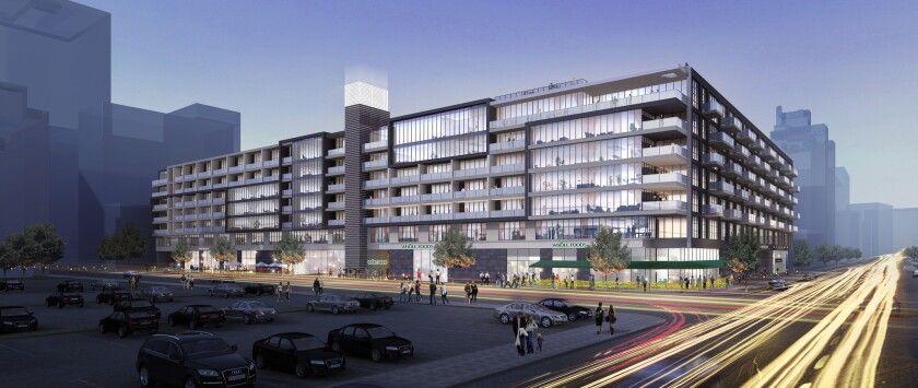 Whole Foods set a Nov. 4 opening date for its new 41,000-square-foot store inside a luxury apartment complex at 770 Grand Ave., shown in an artist's rendering.