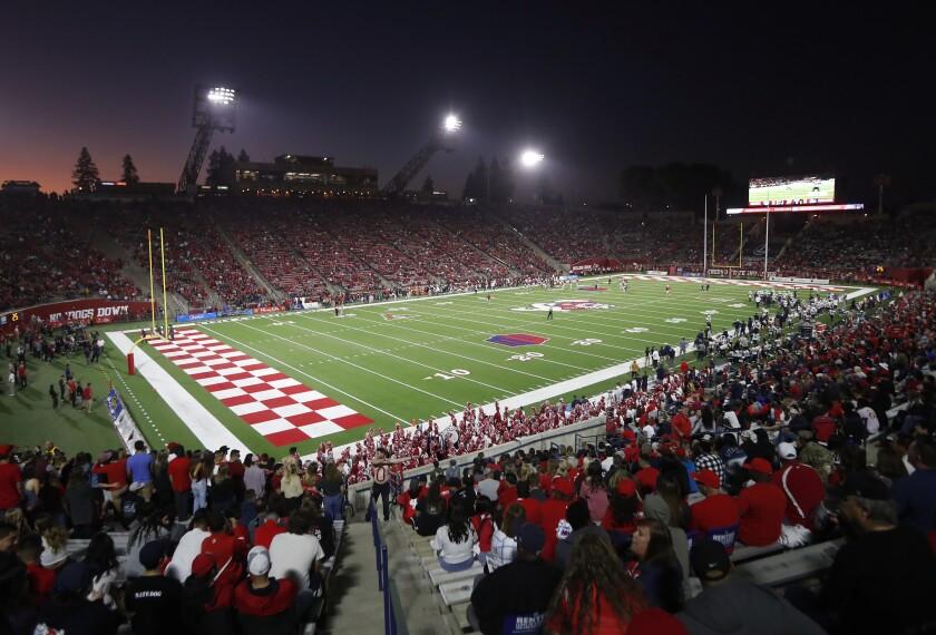 The Bulldog Stadium is seen during the Fresno State versus Utah State game in Fresno.