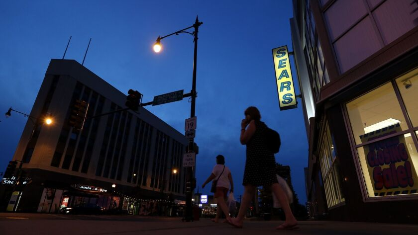 The last Sears store in Chicago, on the edge of the Portage Park neighborhood, closed in July. Sears Holdings has identified 46 more stores that will close this year, including two in Illinois.