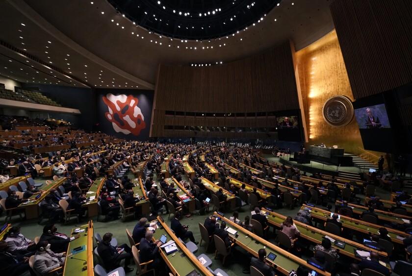 El secretario general de Naciones Unidas, António Guterres, inaugura la 76 sesión de la Asamblea General