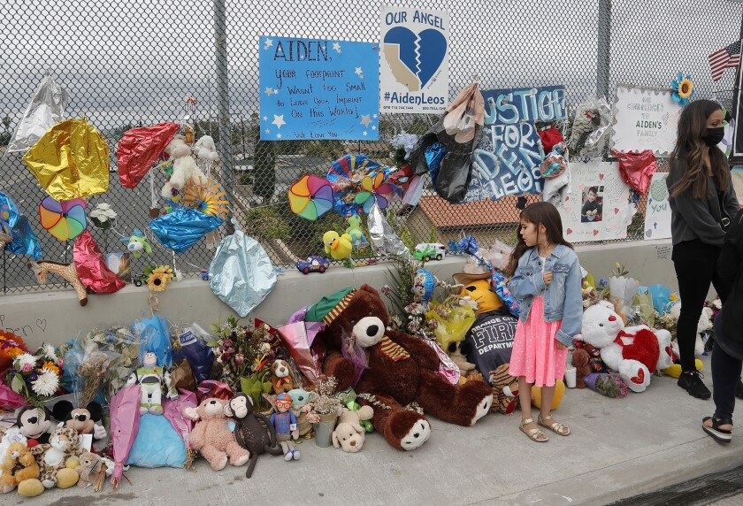 A memorial shrine in honor of Aiden Leos has grown to hundreds of stuffed animals.