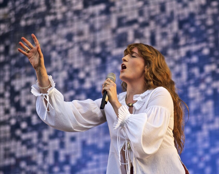 Florence and the Machine, lead by Florence Welch, performs at The Governors Ball Music Festival at Randall's Island Park on Friday, June 5, 2015 in New York. (Photo by Robert Altman/Invision/AP)
