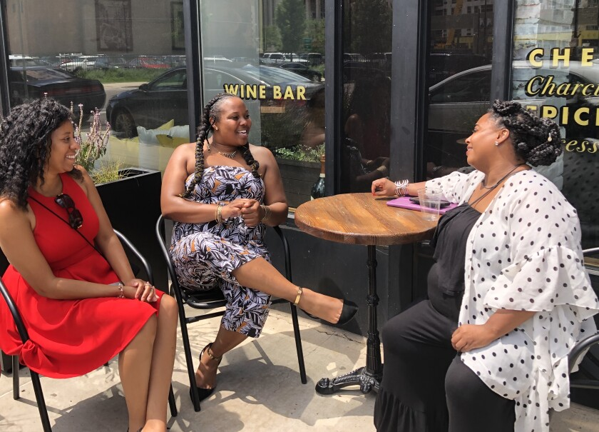 Oriana Powell, center, seen with fellow participants at an issues forum for black women in Detroit, regrets not voting for president in 2016. She plans to vote and be more politically active in the 2020 campaign.