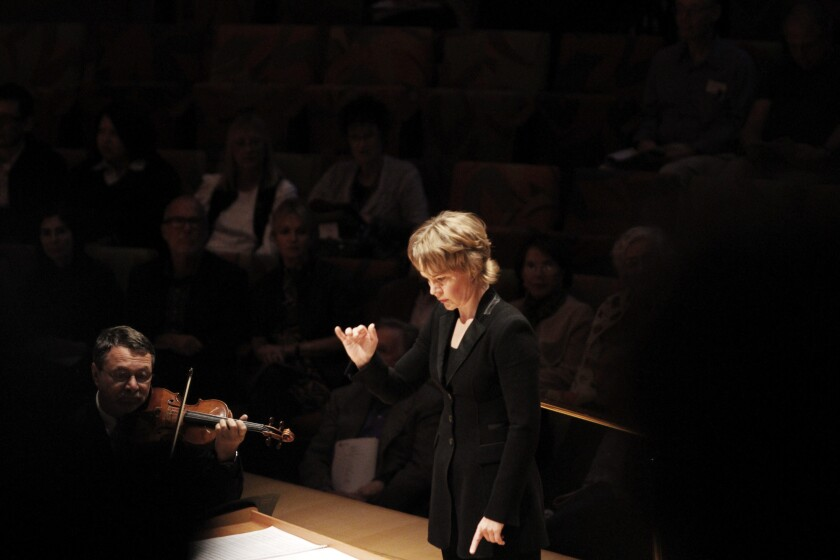 """Finnish conductor Susanna Malkki during the U.S. premiere of Mark-Anthony Turnage's """"Hammered Out"""" at the Walt Disney Concert Hall in 2010."""