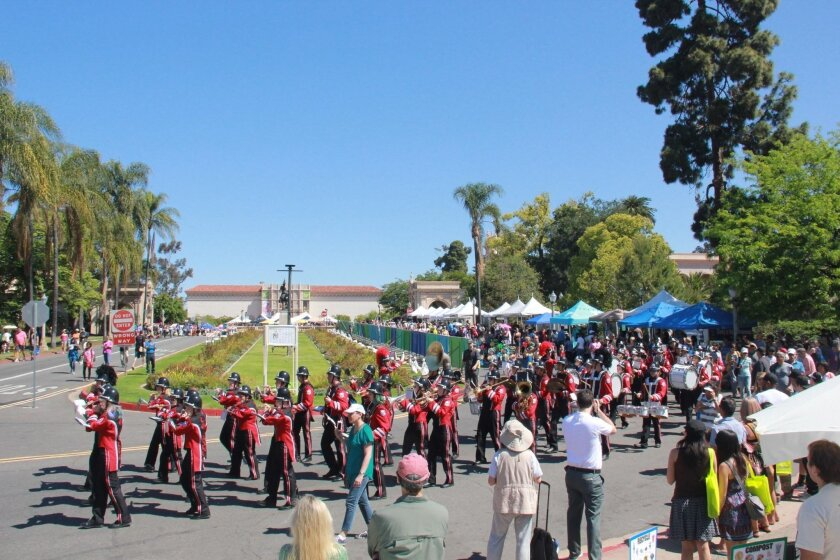 The La Jolla High School Marching Band, one of the newest arts programs at the school, performs at the Earth Day celebration in Balboa Park.