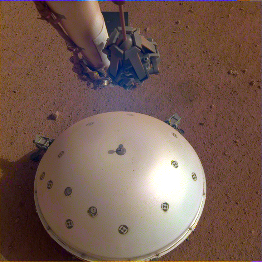 InSight's Wind and Therman Shield covers its seismometer.