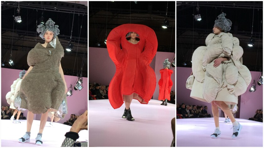 """More looks from the fall/winter 2017 Comme Des Garçons """"The Future of Silhouette"""" runway collection."""